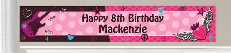 Custom Rocker Girl Birthday Banners