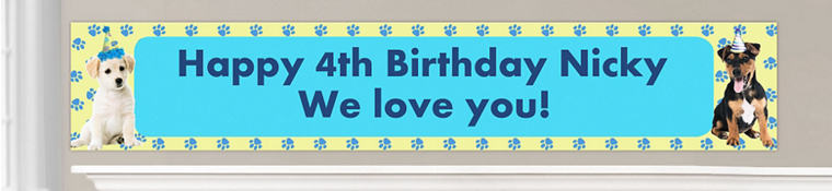 Custom Party Pups Birthday Banners
