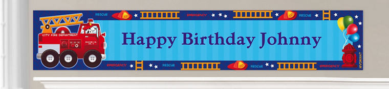 Custom Fire Engine Birthday Banners
