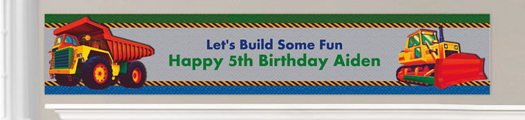 Custom Construction Birthday Banners