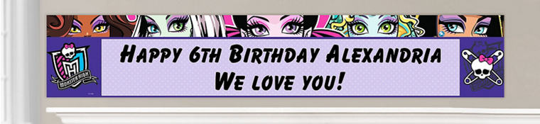 Custom Monster High Birthday Banners