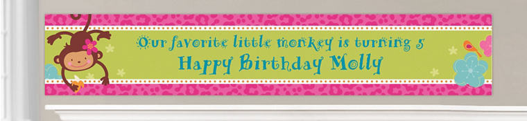 Custom Monkey Love Birthday Banners