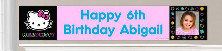 Custom Neon Hello Kitty Birthday Banners