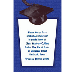 Custom Royal Blue Congrats Grad Invitations