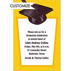 Yellow Congrats Grad Custom Graduation Invitation