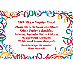 Party Streamers Happy Birthday Custom Invitation