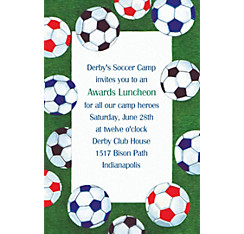 Soccer Ball Border Custom Invitation