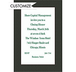Green Texture/White Custom Invitation