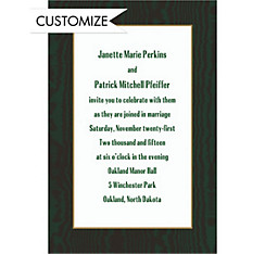 Dark Green Moire and White Custom Invitation