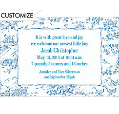 Blue Baby Toile Custom Birth Announcements