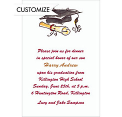 Custom Black Fun Cap & Diploma Graduation Invitations
