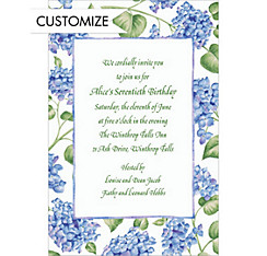 Blue Hydrangeas Custom Invitation