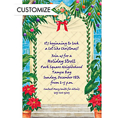 Tropical Christmas Door Custom Invitation