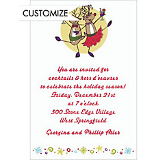 Party Reindeer Custom Christmas Invitation