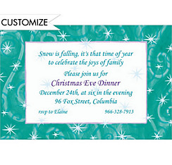 Windblown Stars Custom Christmas Invitation
