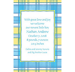 Blue & Yellow Check Custom Birth Announcements