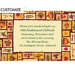Fall Objects Pattern Custom Invitation