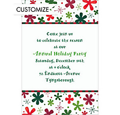 Retro Blossoms and Stars Custom Christmas Invitation