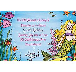 Underwater Mermaid Custom Invitation