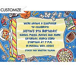 Boys Slumber Party Custom Invitation