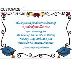 Scholarly Grad Border Custom Invitation