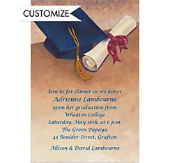 Cap & Diploma Still Life Custom Graduation Invitations