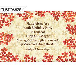 Taupe & Orange Bouquet Custom Invitation