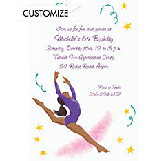 Leaping Gymnast African Custom Invitation