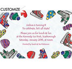 Boy's Ice Skating Party Custom Invitation