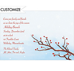 Serene Winter Branch Custom Christmas Invitation