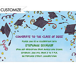 Black Tossed Caps & Stars Custom Graduation Invitation