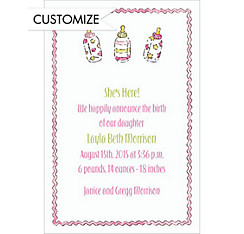 Little Girl Bottles Custom Birth Announcements
