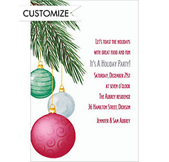 Dangling Ornaments Custom Christmas Invitation