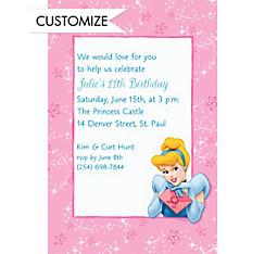 Cinderella on Pixiedust Swirls Custom Invitation