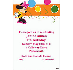 Minnie Mouse Bright Birthday Custom Invite