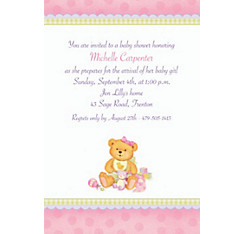 Custom Baby Shower Pink Precious Bear Baby Shower Invitation