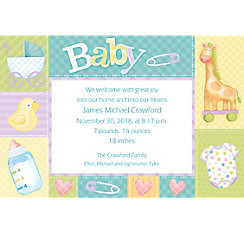 Custom Pastel Patchwork Birth Announcements
