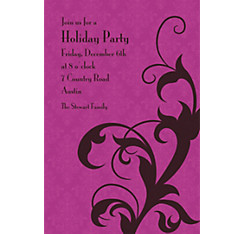 Holiday Filigree Purple Custom Christmas Invitation