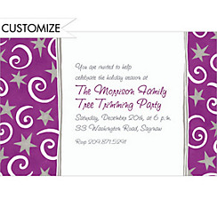 Stars and Swirls Purple Custom Christmas Invitation