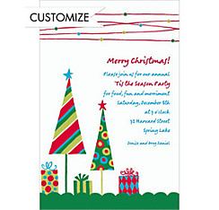 Cute Trees & Gifts Green Custom Christmas Invitation