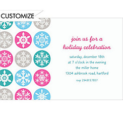 Mod Snowflakes Pink Custom Christmas Invitation