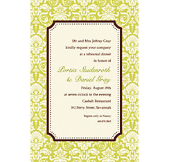 Classic Damask Border Lime Custom Invitation