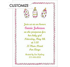 Little Girl Bottles Custom Baby Shower Invitation