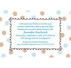 Blue Dots Border Custom Baby Shower Invitation