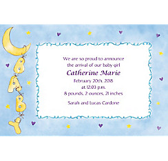 Custom Moon & Stars Birth Announcements