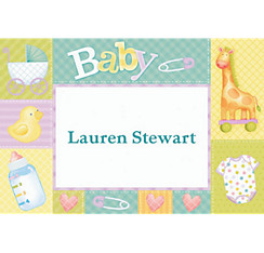 Pastel Patchwork Custom Baby Shower Thank You Note