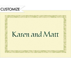 Narrow Sage Damask/Ecru Custom Thank You Note
