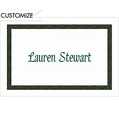 Green Moroccan Border/White Custom Thank You Note