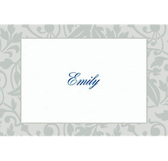 Gray Damask Border Custom Thank You Note