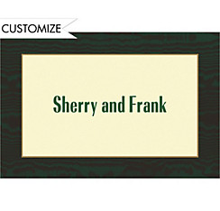 Moire Dark Green and Ecru Custom Thank You Note